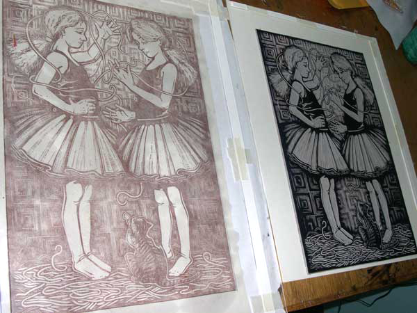 linocut and plates