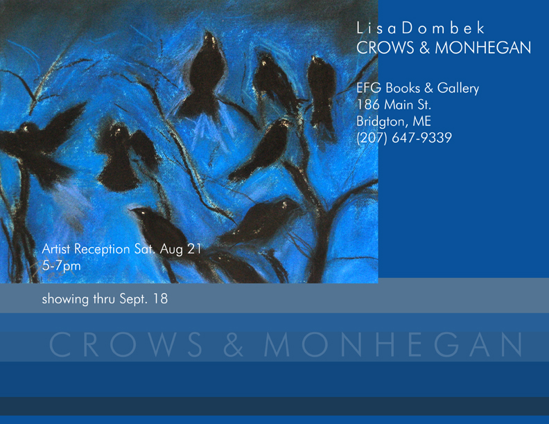 Crows & Monhegan - pastel on paper