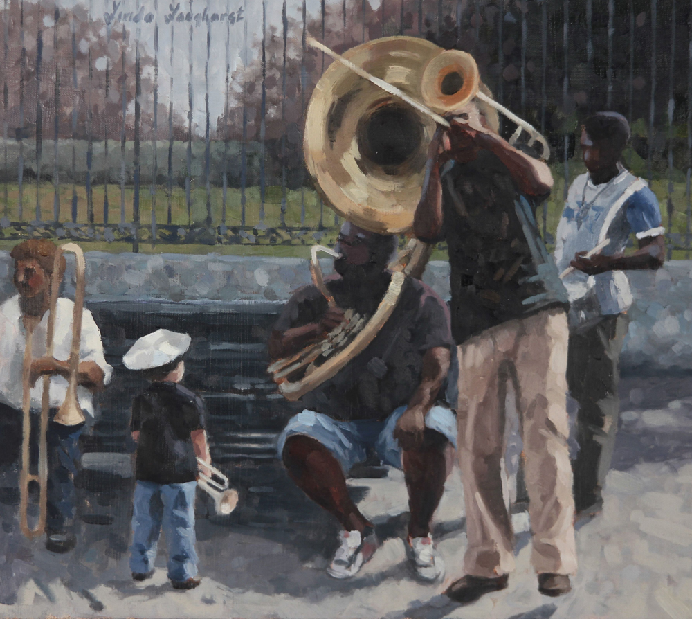 musicians and young boy on Jackson Square
