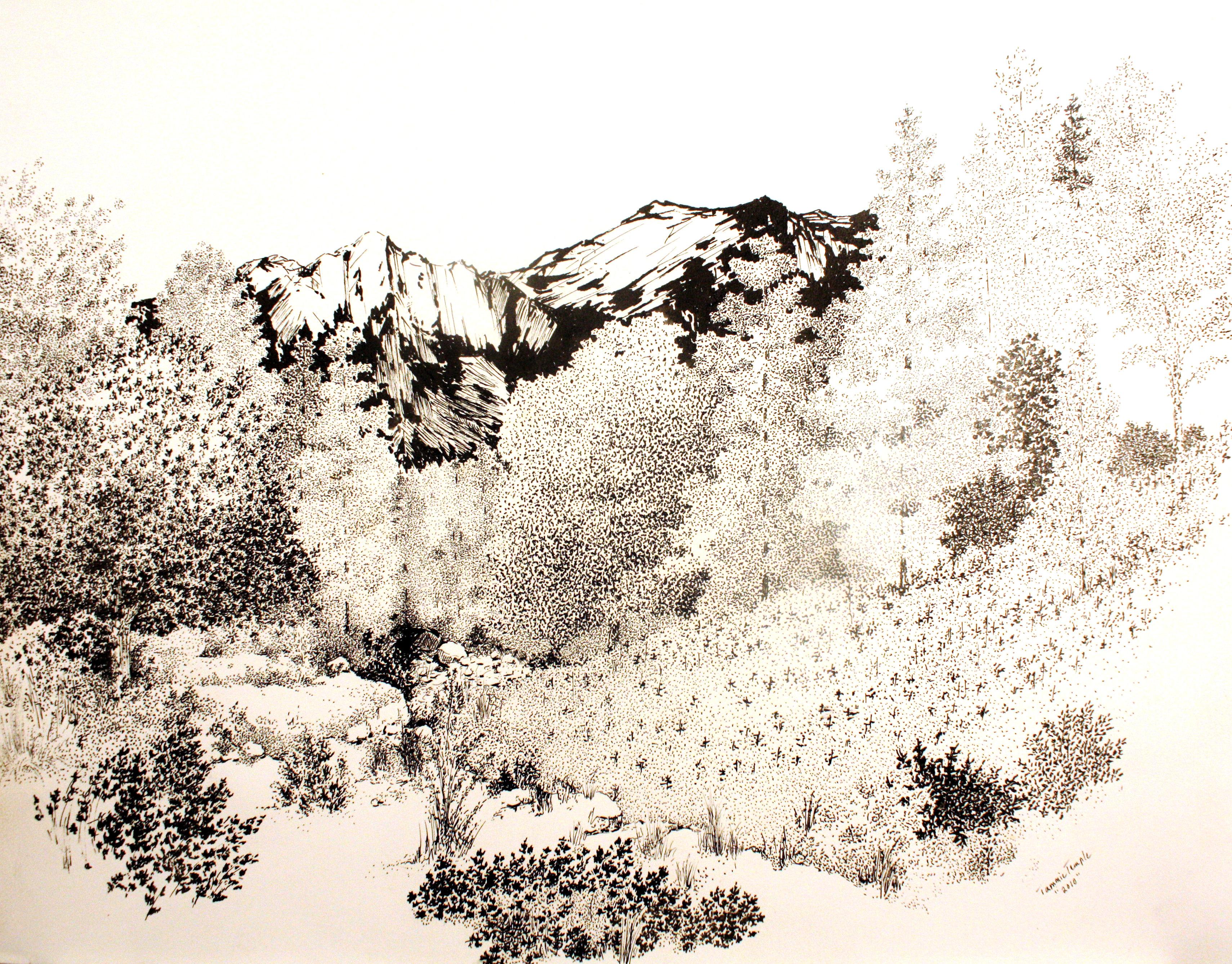 Landscape Pointillism Artwork