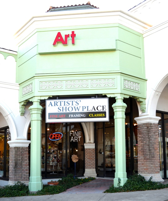 Store front to Artists' Showplace in Dallas, Texas.