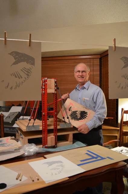 Charles in Studio with Mockingbird Blocks