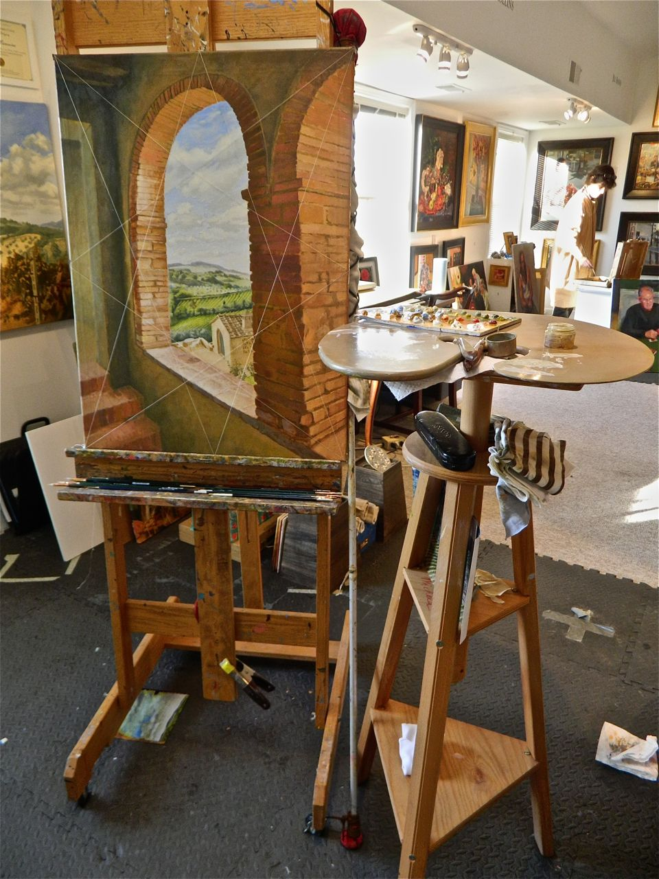 """Arches"" a painting on my easel, destined to go to Cesco's Osteria, in Bethesda Row"