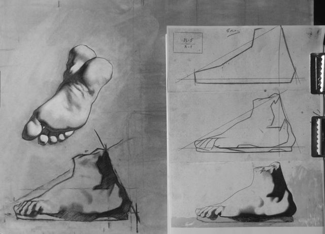 Charcoal drawing of the copying approach