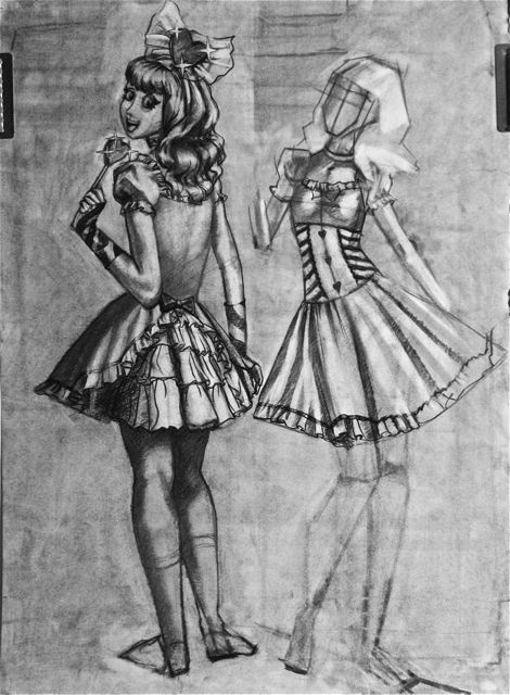 Charcoal Drawing of two views of Lolli Frolic Costume