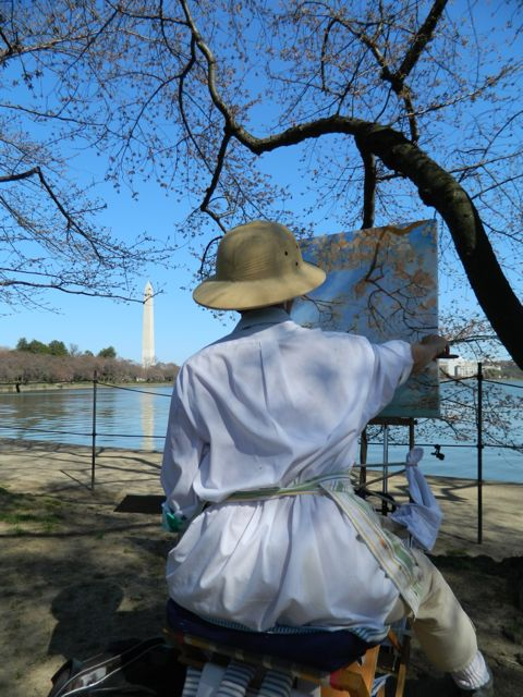Michela Painting the Cherry Blossoms, day two.  Photo by Robin Kent.