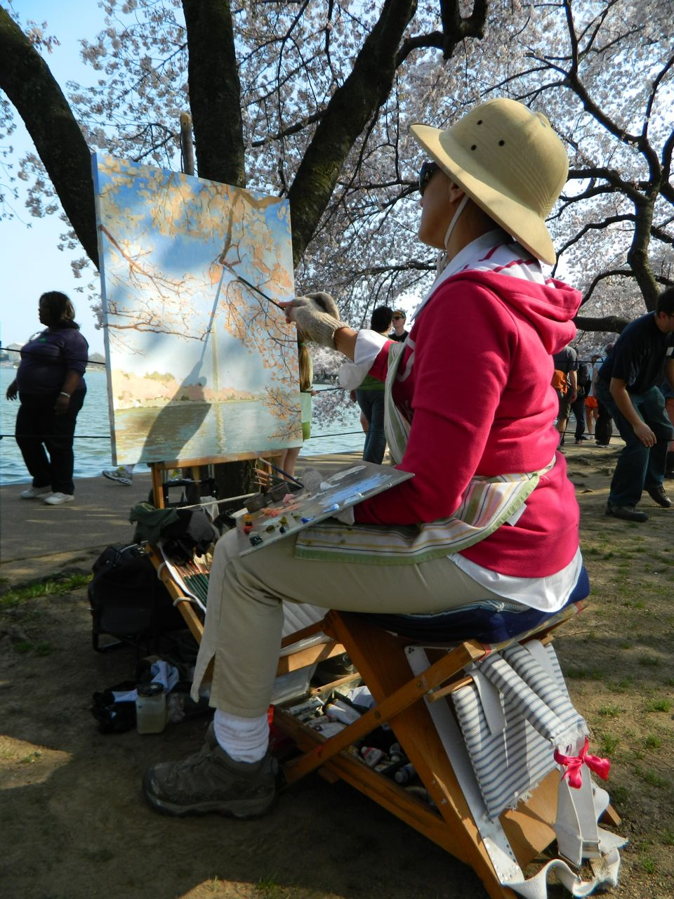 Michela painting the Cherry Blossoms day 04