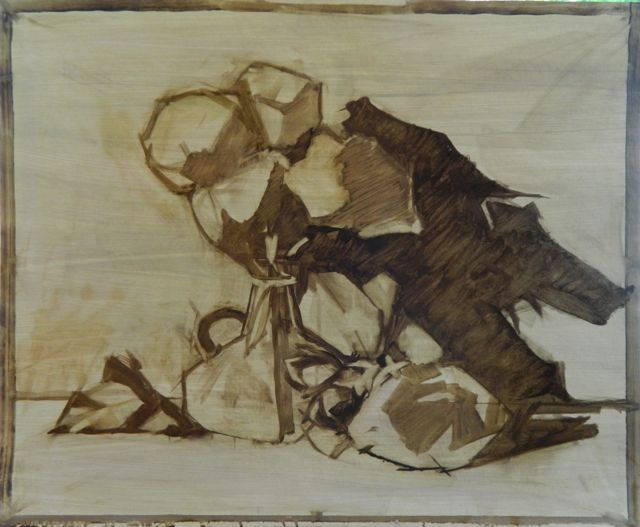 Open Grisaille drawing in raw umber