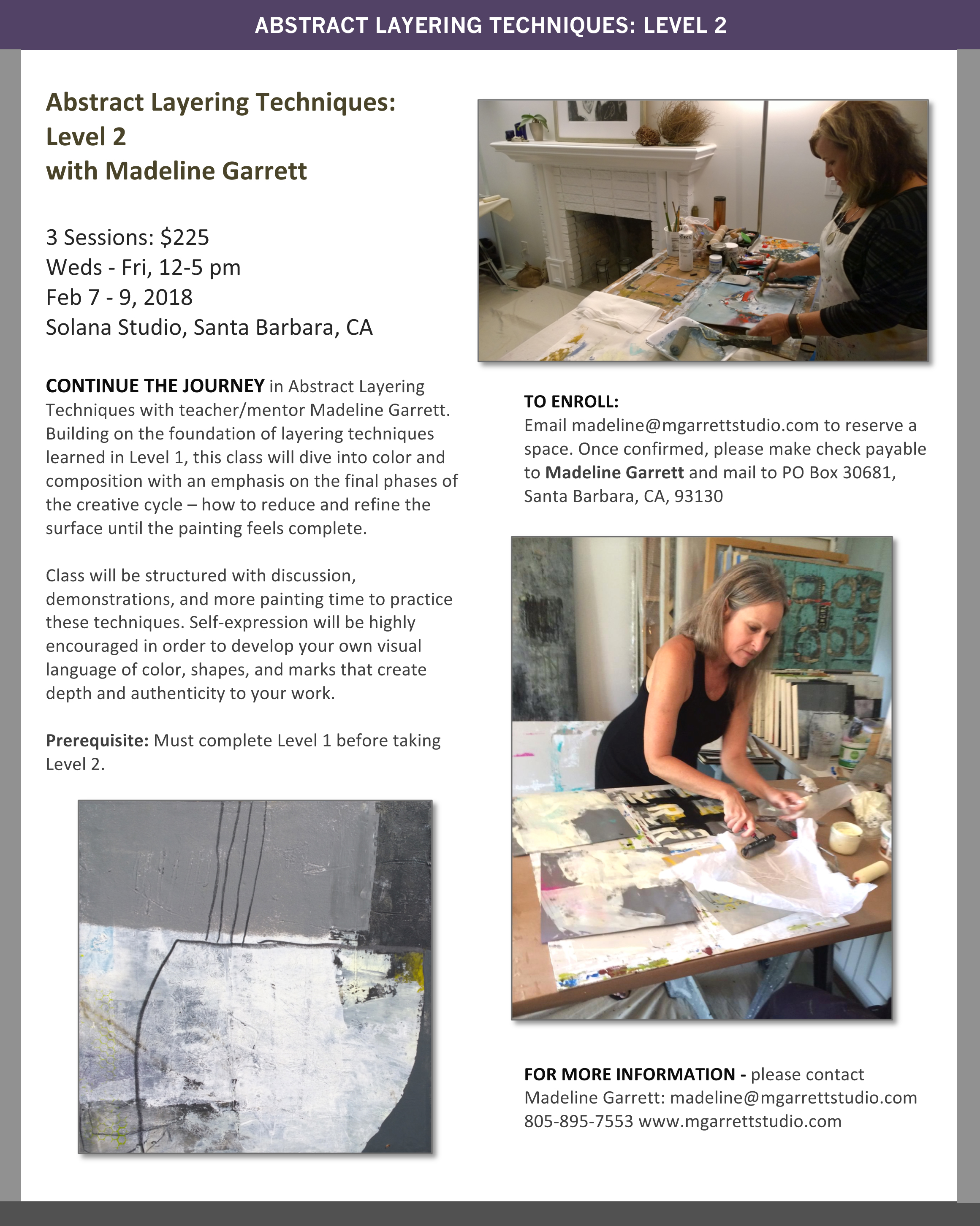 Abstract Layering Techniques Workshop: Level 2 - Feb 2018 with Madeline Garrett