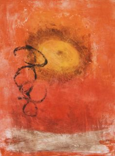 Jpeg, Monotype, monoprint, Sunflower, work on paper by M. Pia De Girolamo