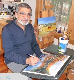Nari painting in studio