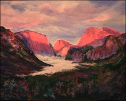 Yosemite Sunset, acrylic on canvas