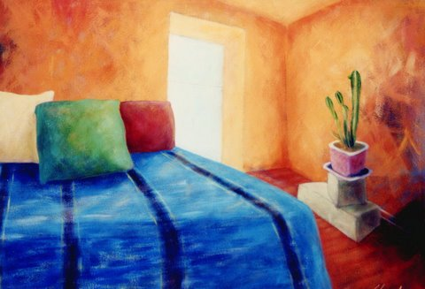 bedroom, bed, pillows, plant, window, southwestern