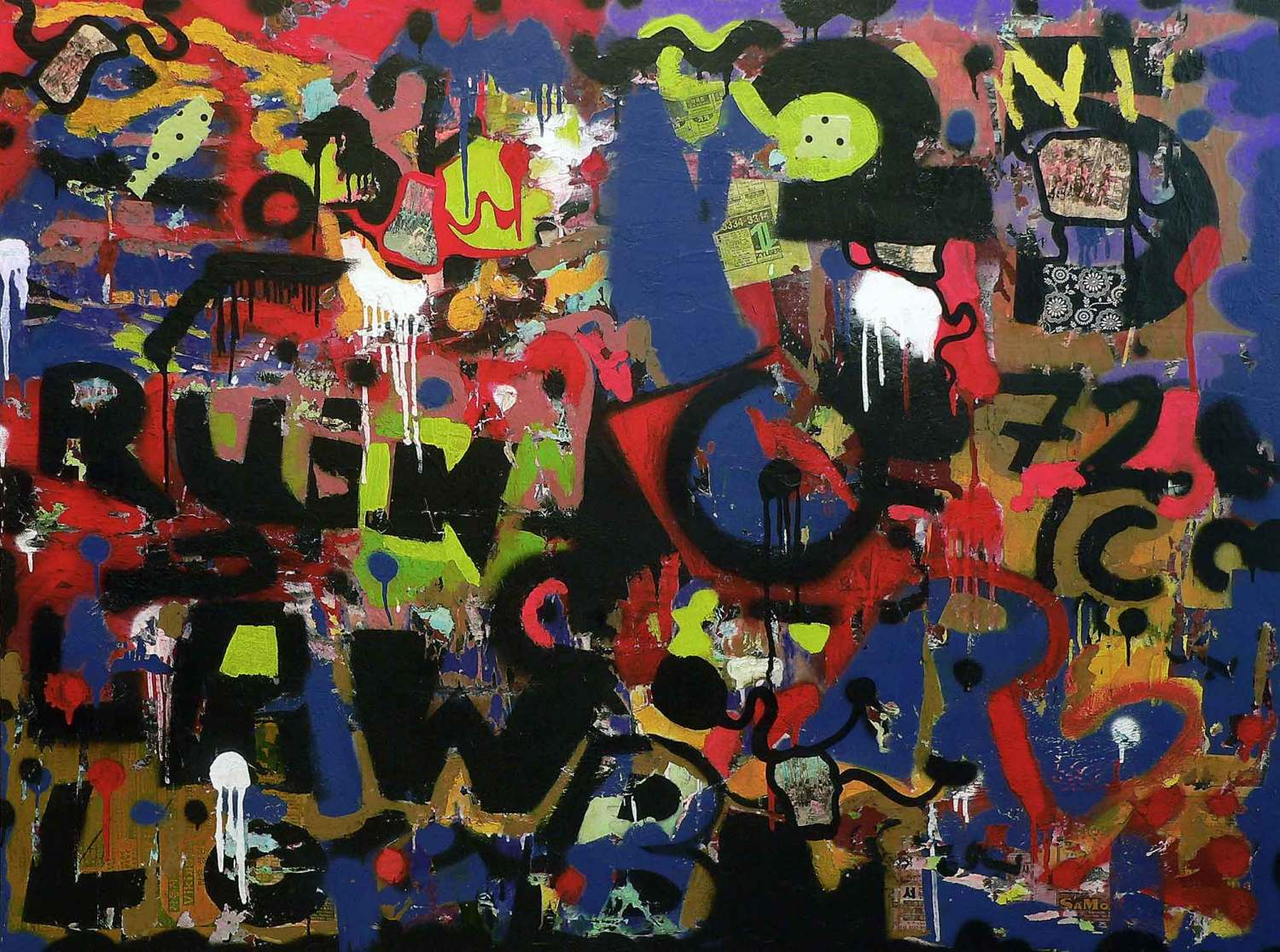 lonely town - 120 x 160 cm - acrylic, spray paint and collage on canvas - 2009
