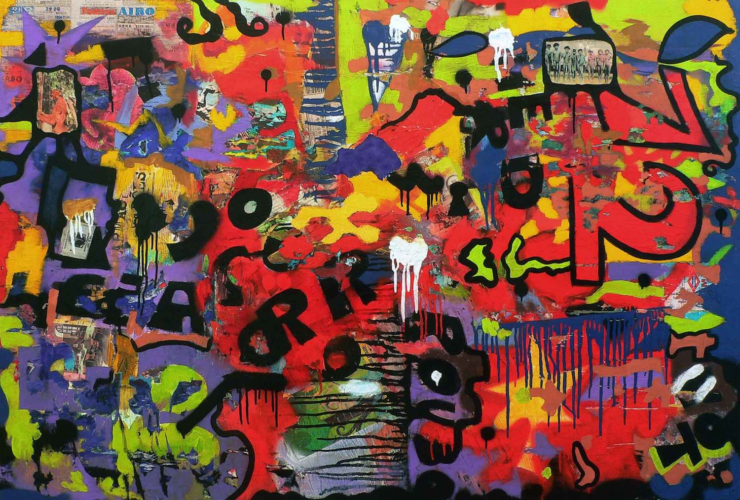 yes or no - 115 x 170 cm - acrylic, spray paint and collage on canvas - 2009