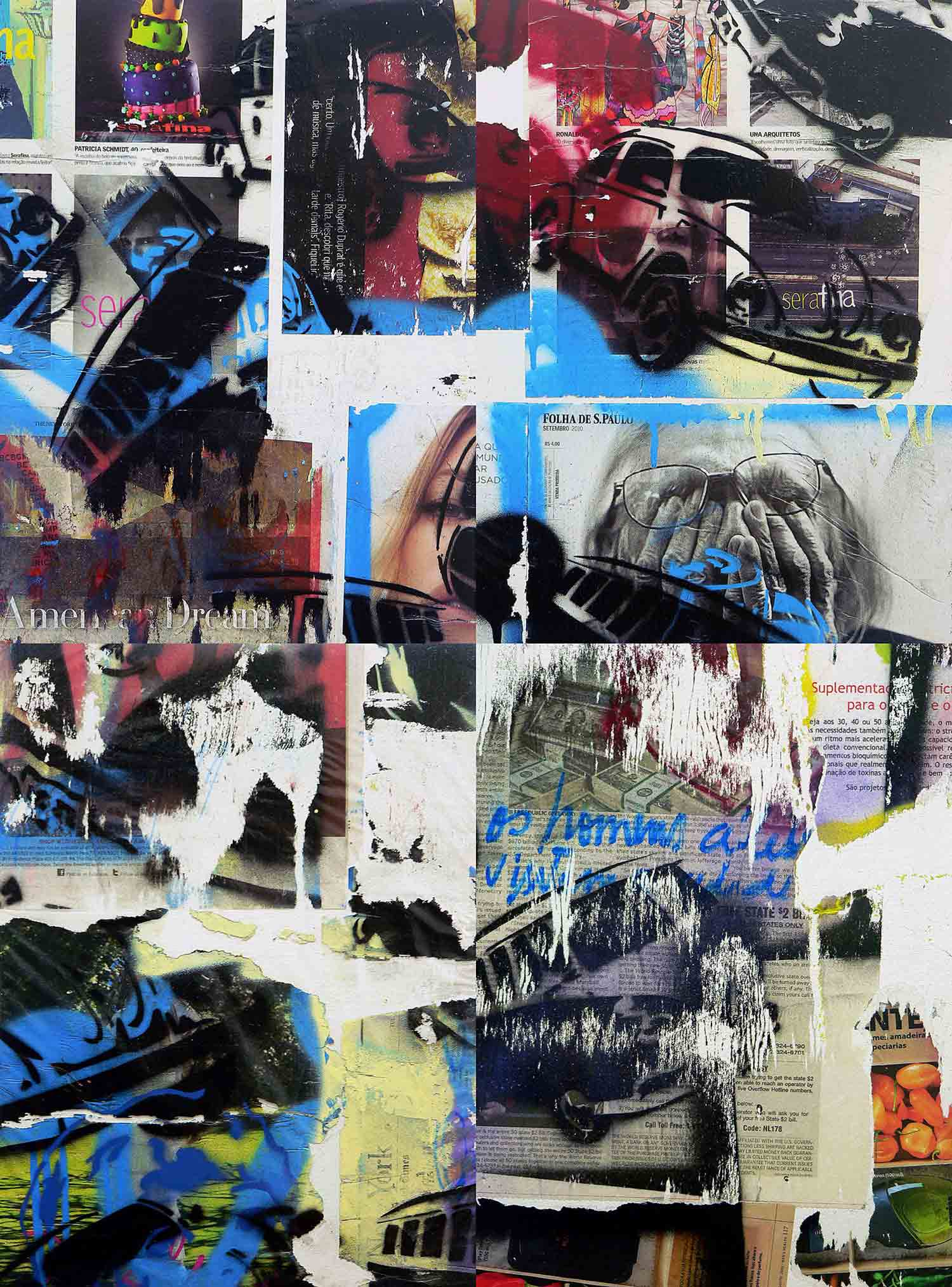 american dream - 40 x 30 cm each (4 parts) - mixed media on adhesive vinyl mounted on canvas - 2010