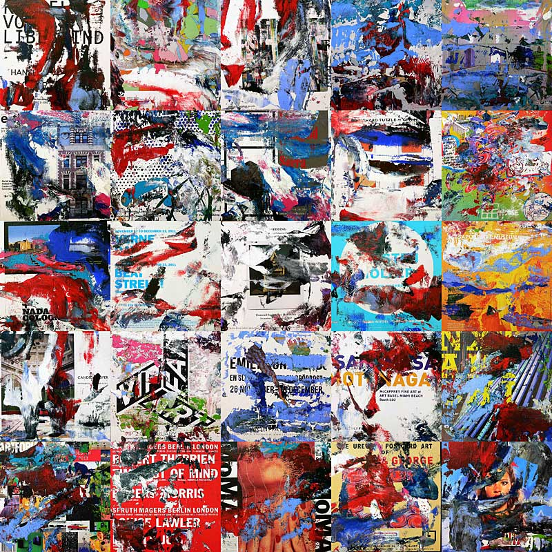 artforum 0112 – 26 x 26 cm each (25 parts) - acrylic and mixed media on artforum magazine pages mounted on wood boxes - 2012