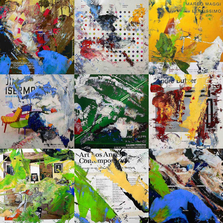 artforum 0412 - series 2 - 26 x 26 cm each (9 parts) - acrylic on artforum magazine pages mounted on wood boxes - 2012