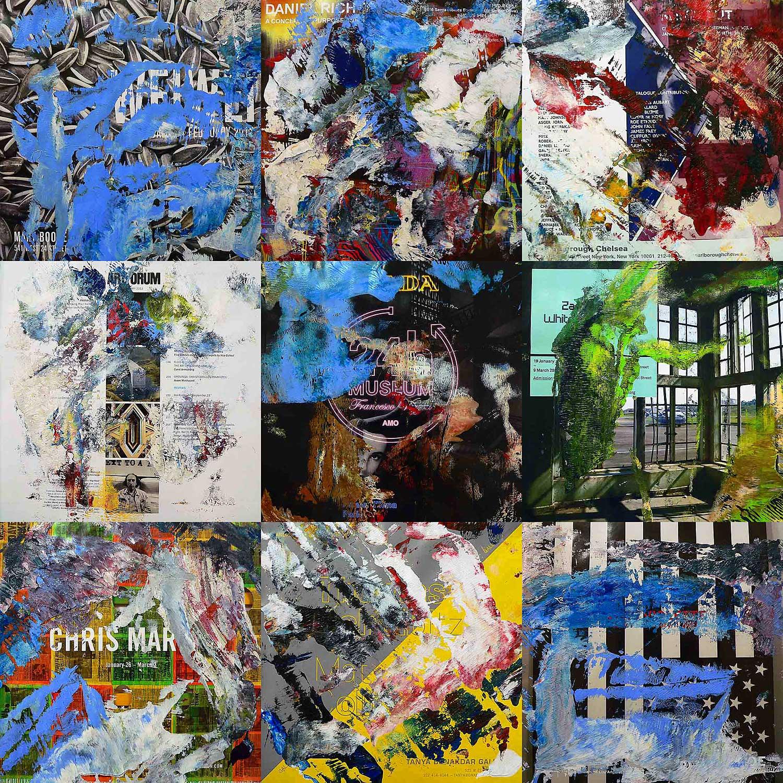 artforum 0412 - series 1 - 26 x 26 cm each (9 parts) - acrylic on artforum magazine pages mounted on wood boxes - 2012