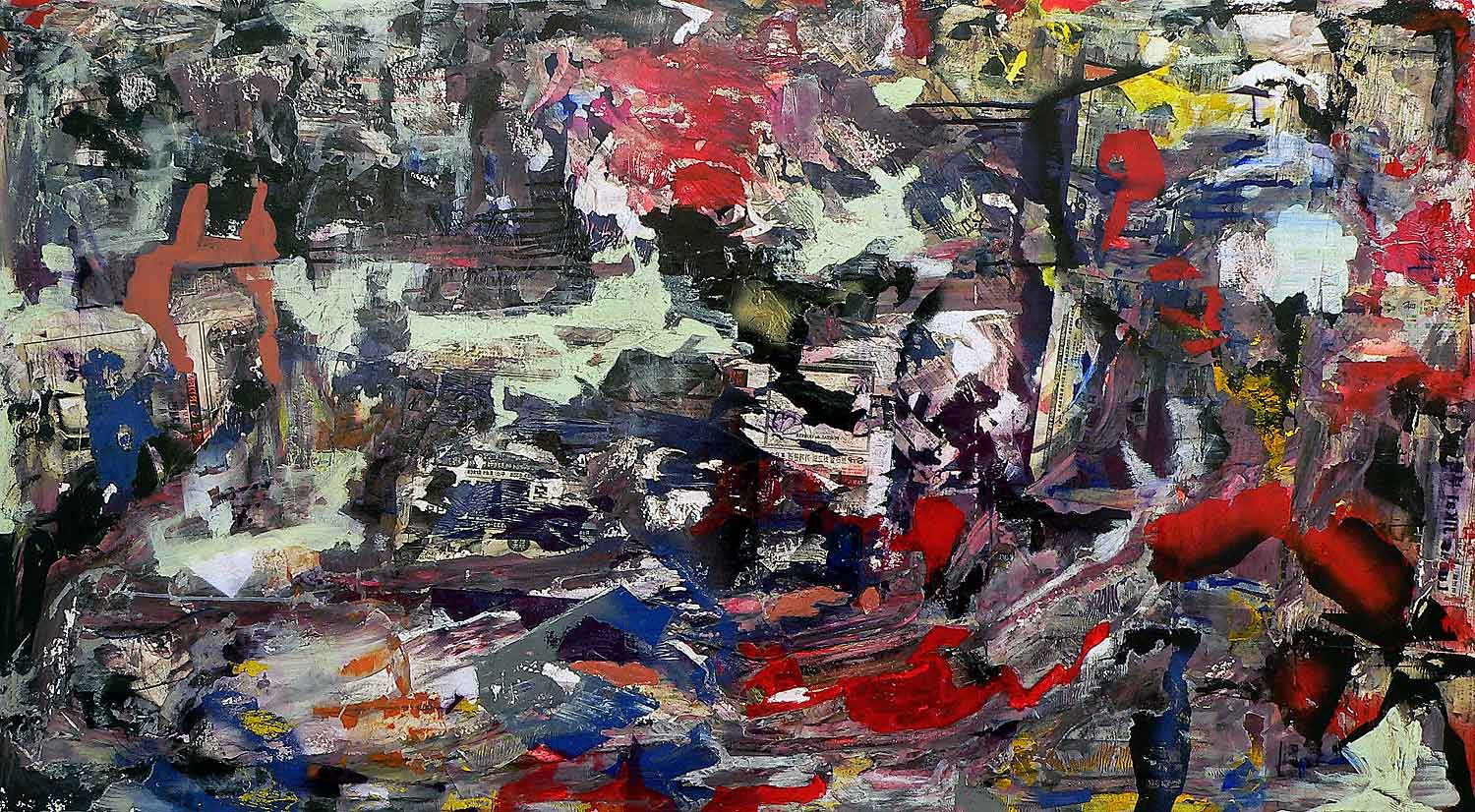 blues connotation - 120 x 216 cm - acrylic and collage on canvas - 2009
