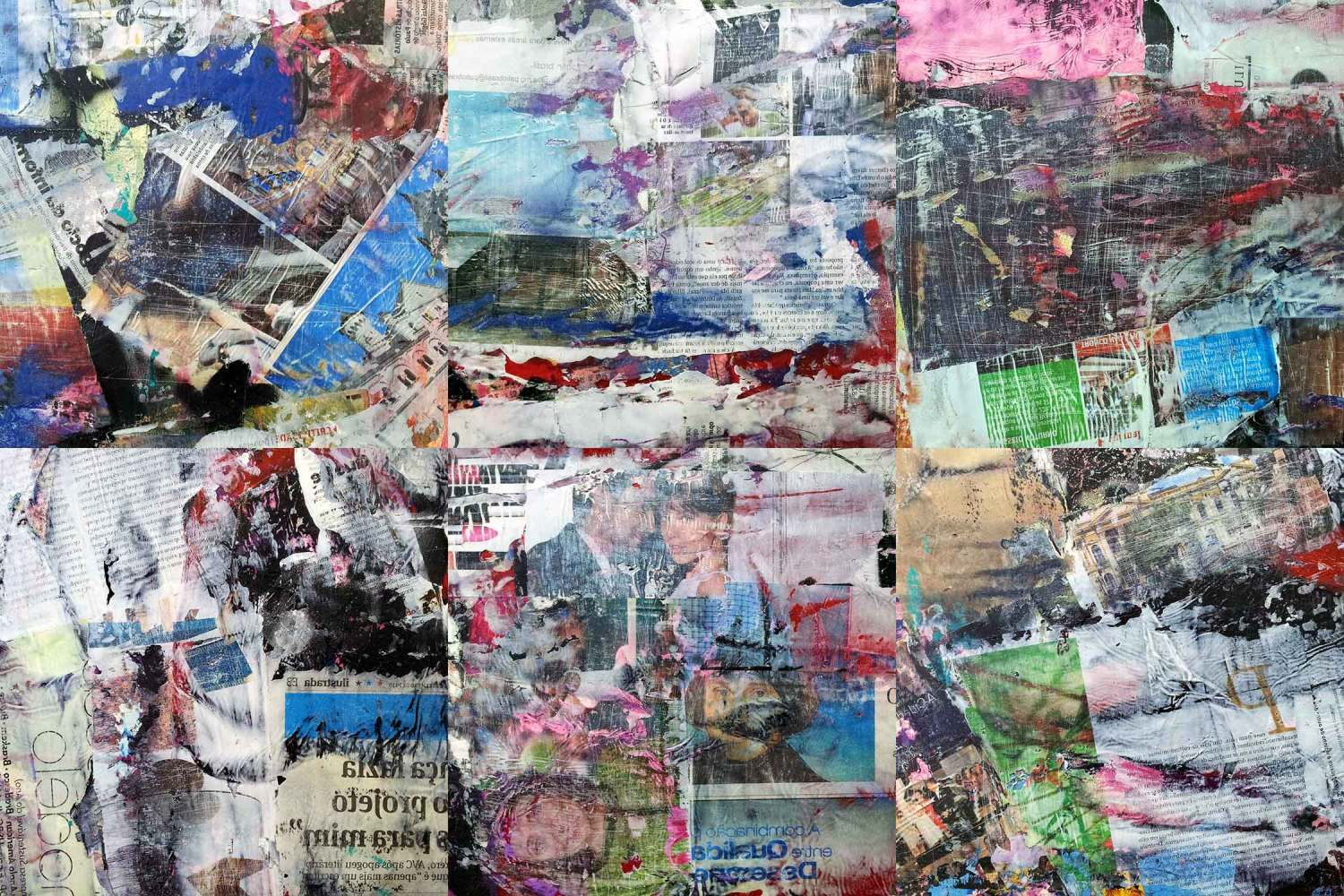 communication breakdown – 26 x 26 cm each (6 parts) - acrylic and mixed media collage on canvas mounted on wood boxes - 2012