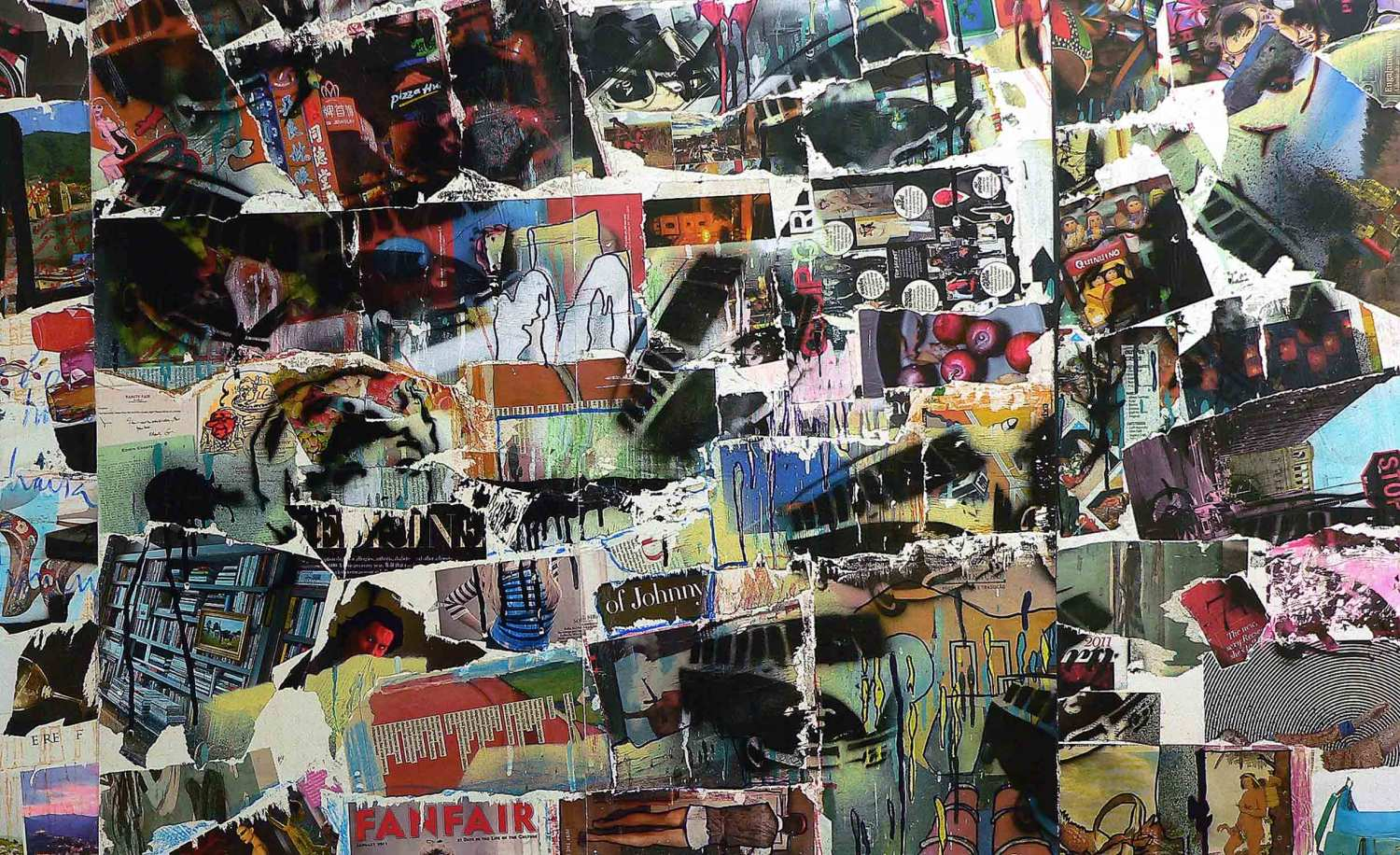 funfair - 80 x 130 cm - acrylic, spray paint, markers and collage on self adhesive vinyl mounted on canvas - 2011