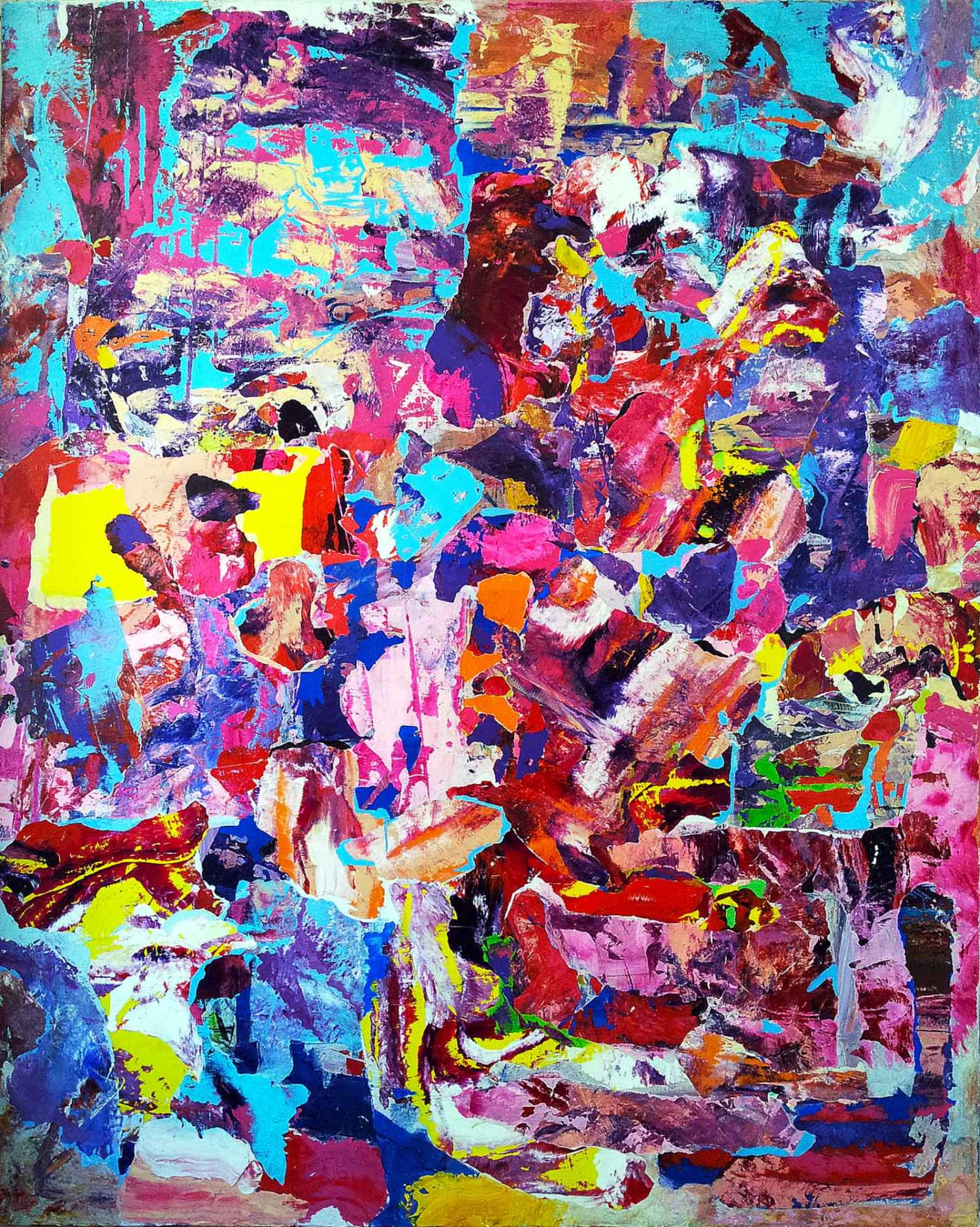 no room for squares - 150 x 120 cm - acrylic, markers and collage on canvas - 2015