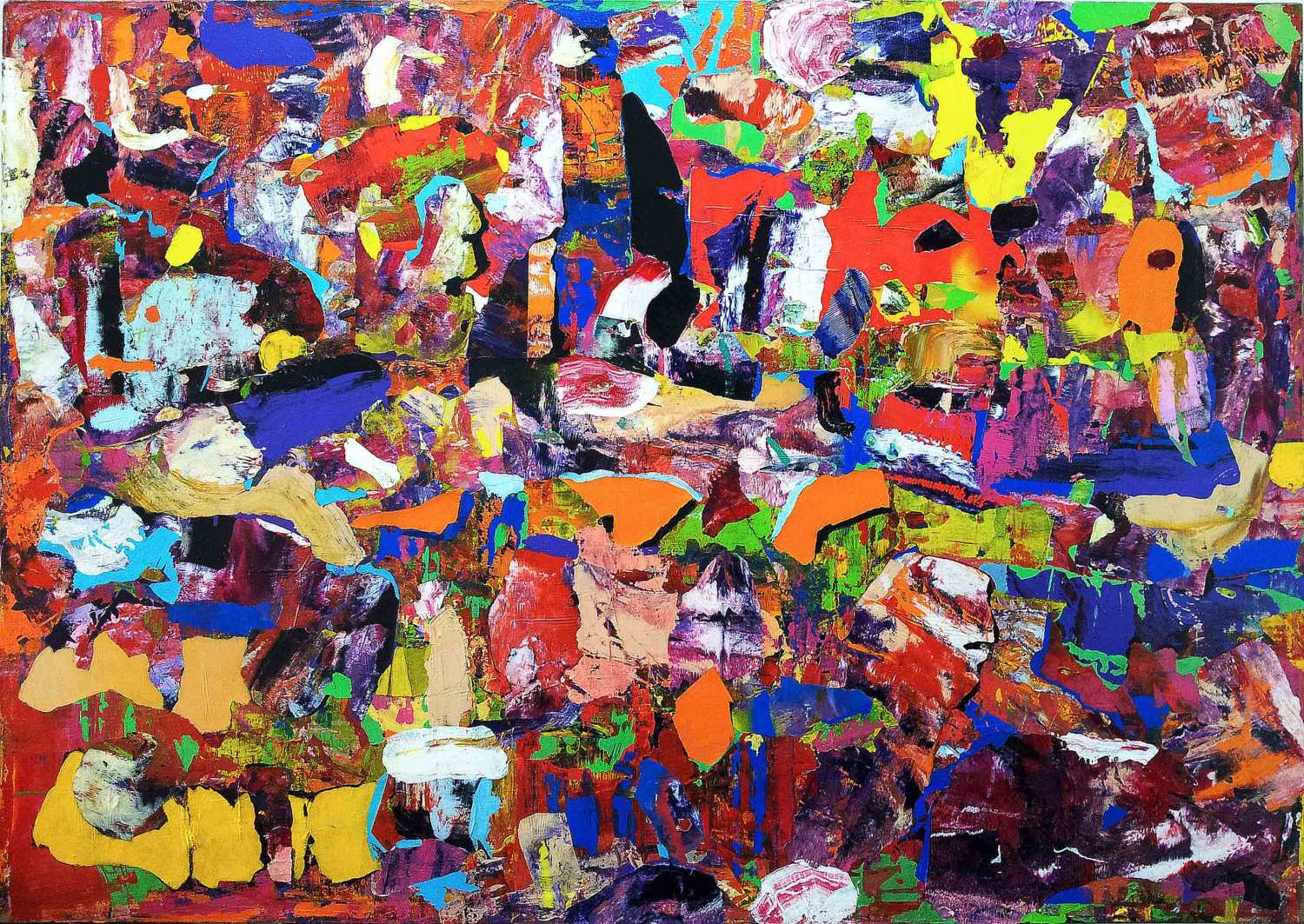 on the sunny side of the street - 120 x 170 cm - acrylic and collage on printed linen - 2015