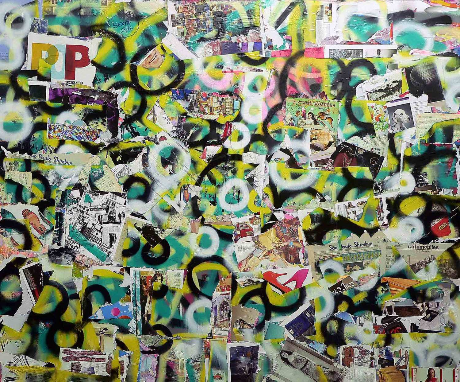 pop - 170 x 225 cm - spray paint, markers and collage on canvas - 2010