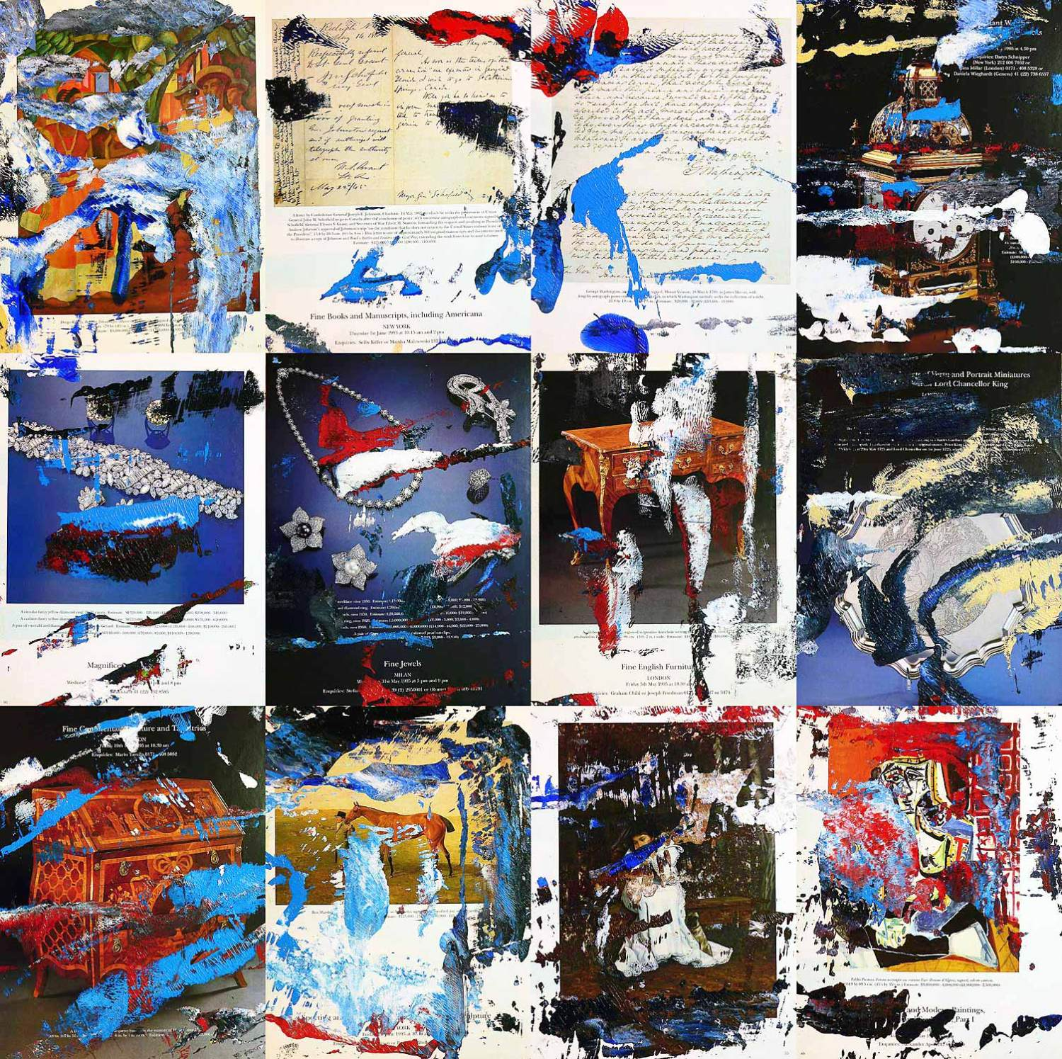sotheby´s 0212 - series 3 - 29 x 22 cm each (12 parts) - acrylic on sotheby´s catalogue pages mounted on wood boxes - 2012