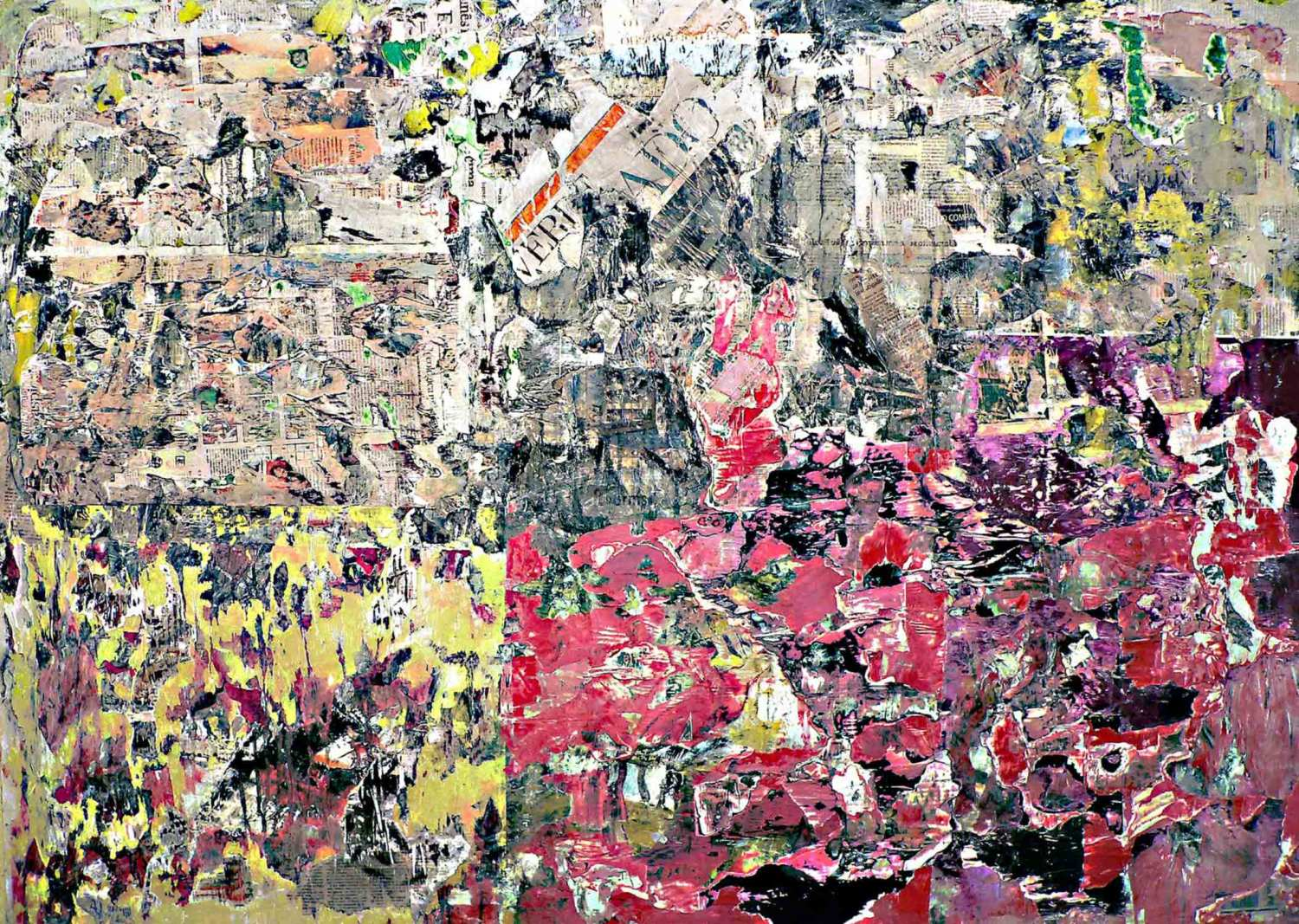 time and again - 125 x 175 cm - acrylic, spray paint and collage on canvas - 2009