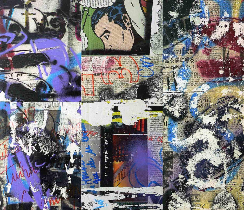 tuíra - 50 x 20 cm each (3 parts) - mixed media on adhesive vinyl mounted on canvas - 2010