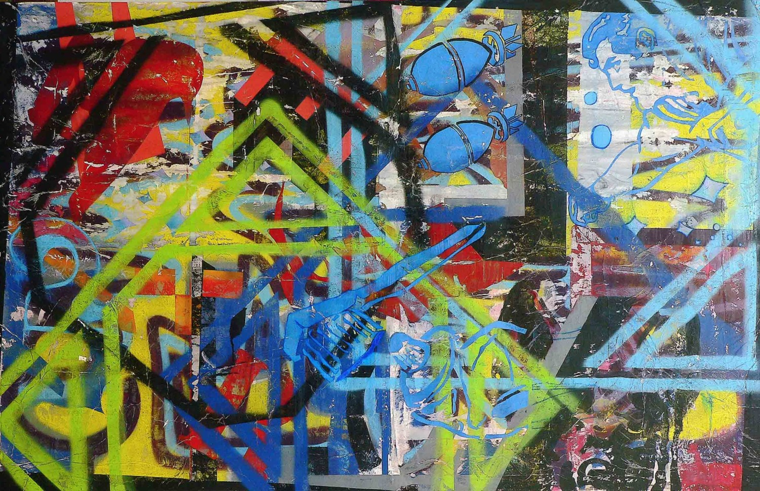 all blues - 116 x 180 cm - acrylic, spray paint, marker pen and collage on canvas - 2010