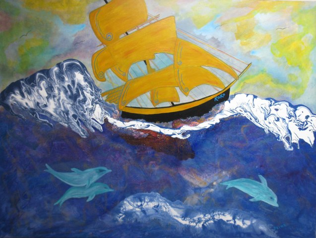 Whimsical Clipper Ship with Dolphins