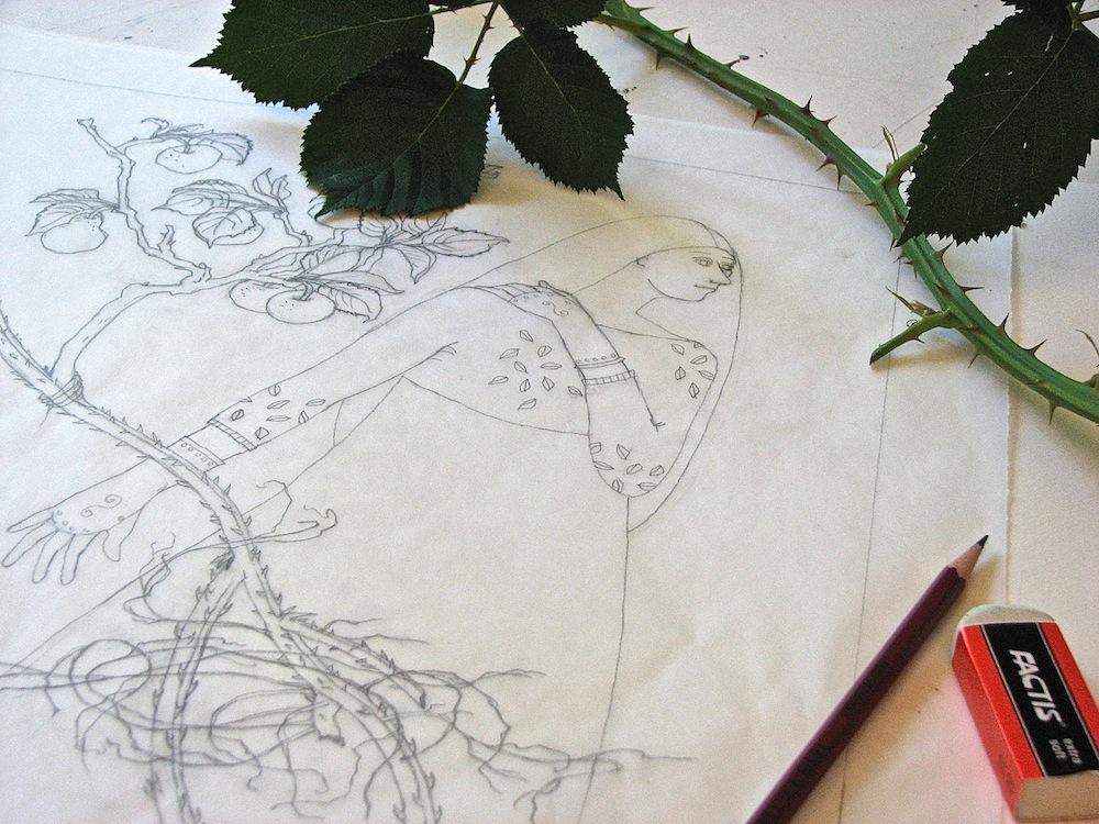 Studio shot--pencil drawing