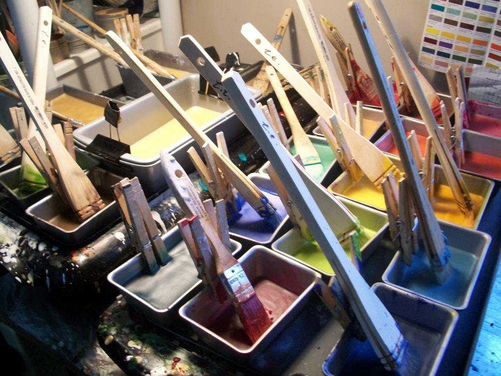 picture of encaustic paints on hot griddle