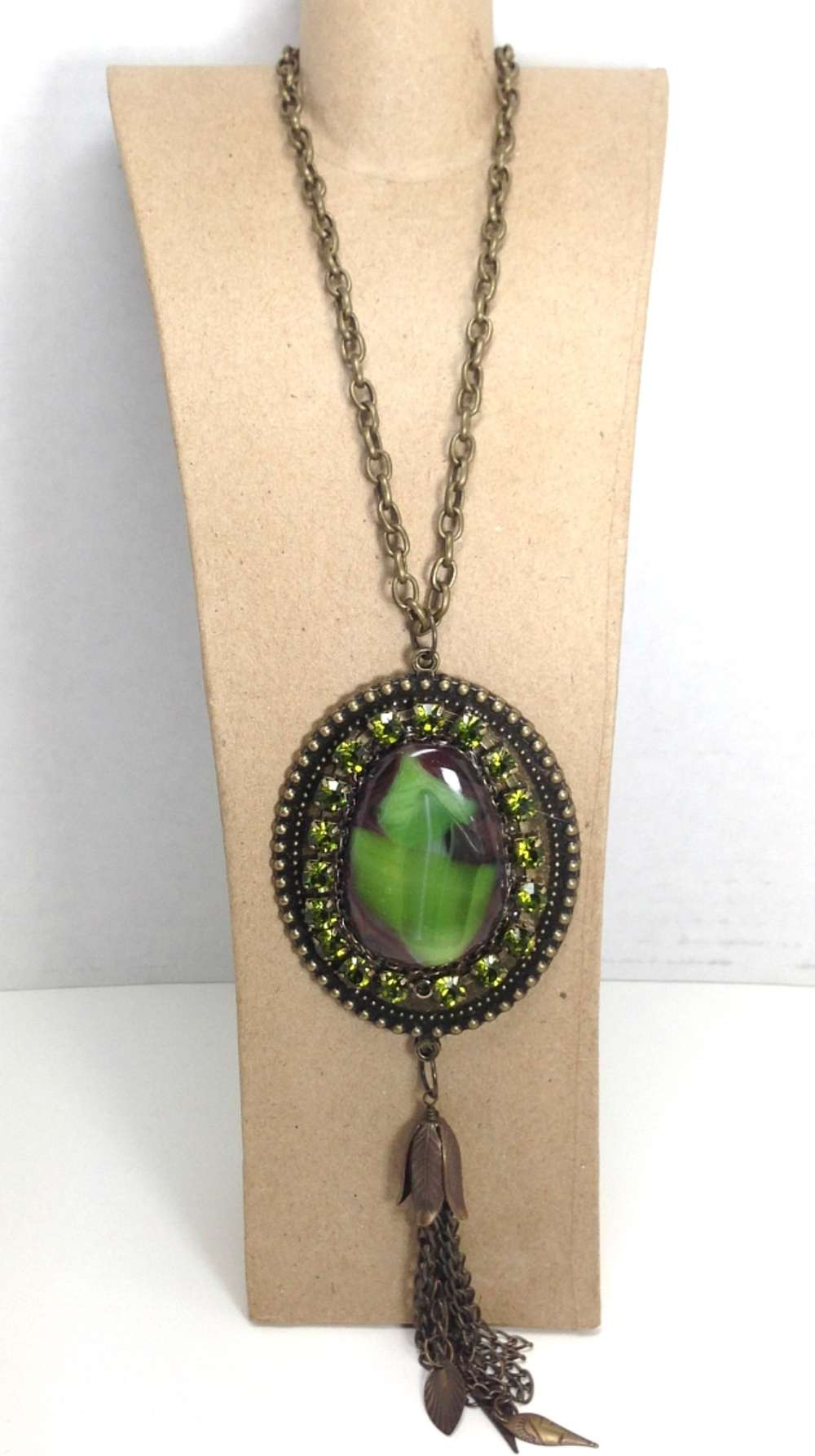 Green Fused Glass and Antique Gold Necklace