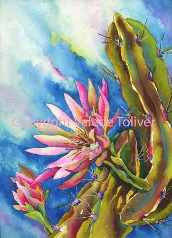 Cereus Awakening Watercolor Painting by Valerie Toliver