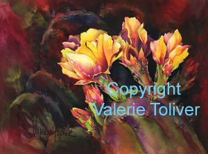 Fresh Blooms of Prickly Pear Watercolor Painting by Valerie Toliver