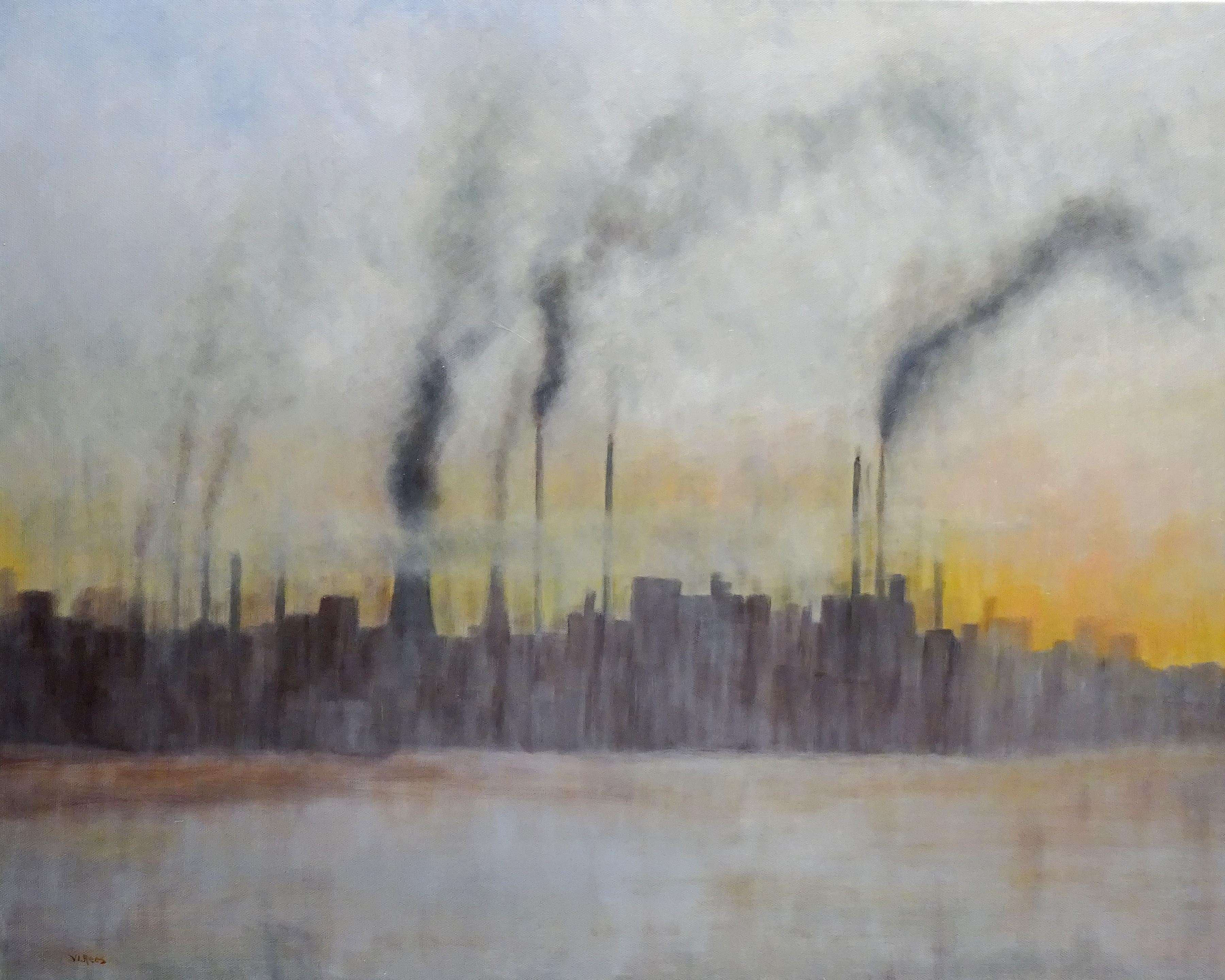 power plant at sunrise