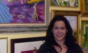 The artist at the Soho Underground Gallery in Pomona.