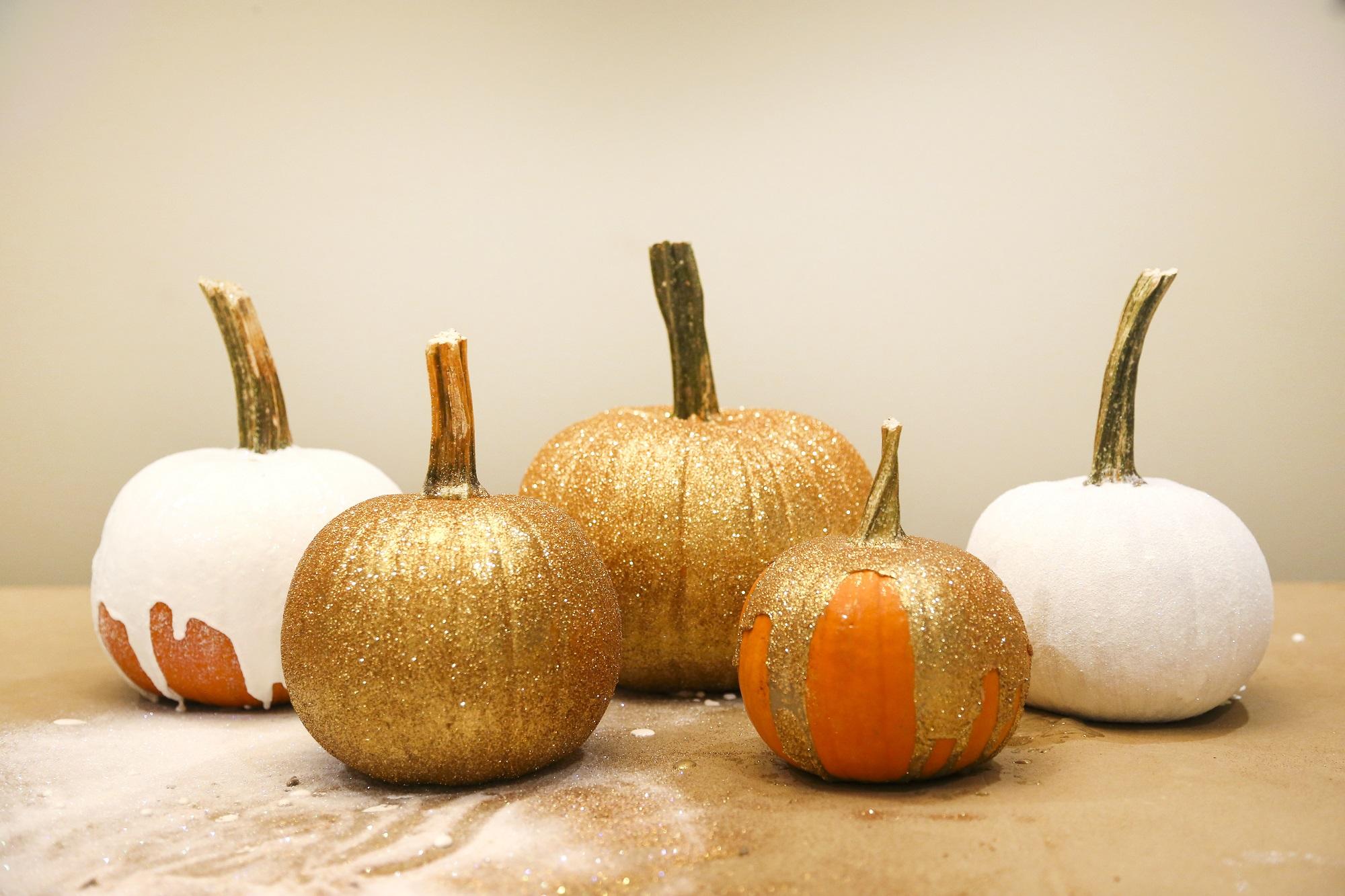 Gold and white glitter pumpkins