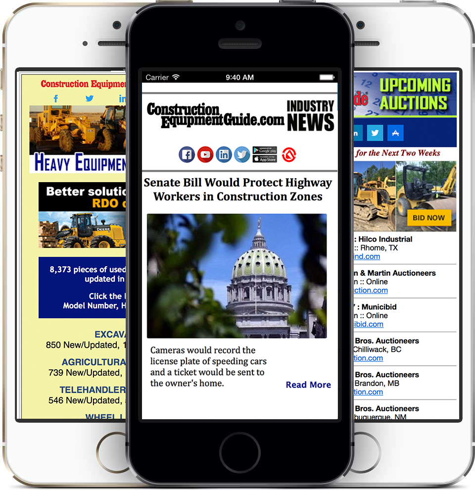 phone with newsletter screens