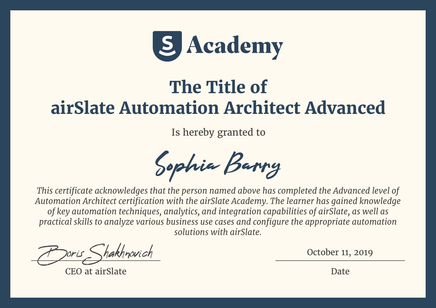 Learn automation certificate