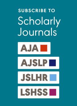 ASHA Scholarly Journals