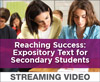 Reaching Success: Expository Text for Secondary Students