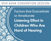 Factors That Exacerbate or Ameliorate Listening Effort in Children Who Are Hard of Hearing