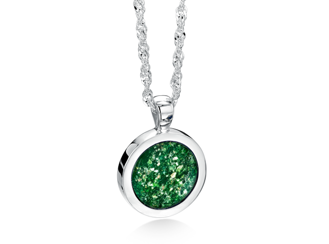 Round Pendant White Gold Green