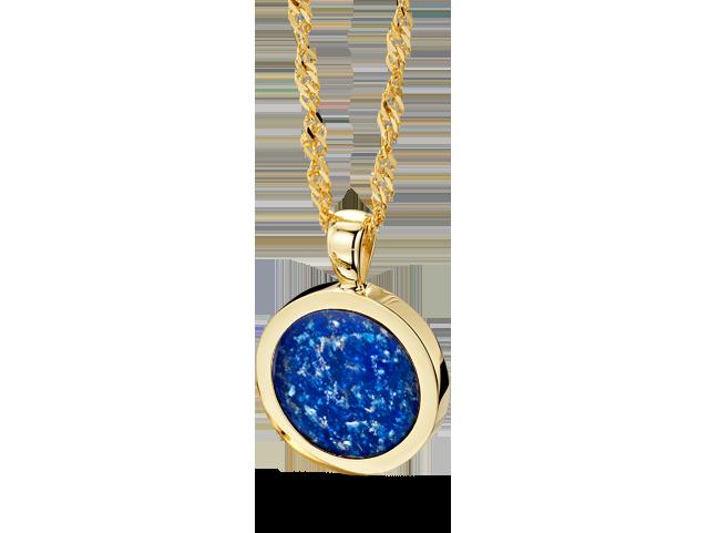 Round Pendant Gold Blue