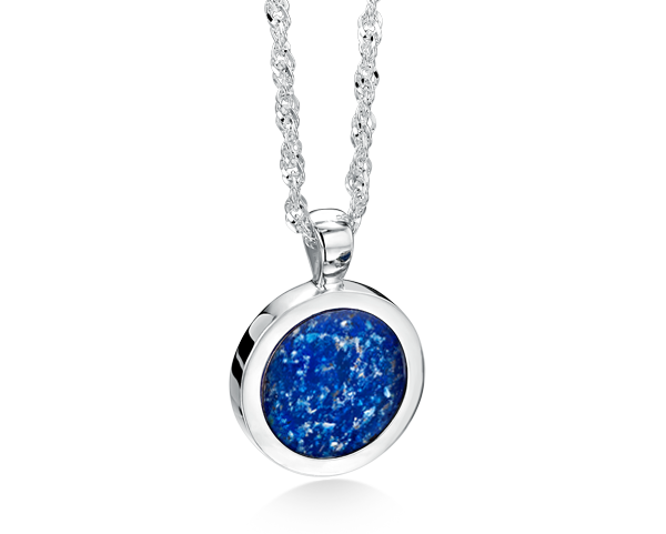 Ashes into glass fine jewelry handmade with loved ones round pendant silver blue mozeypictures Images